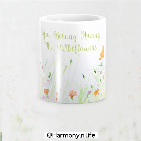 Watercolor Flower Painting with Mint Green Leaves Mug