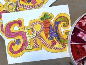 Watercolor Painting of the wordSpring