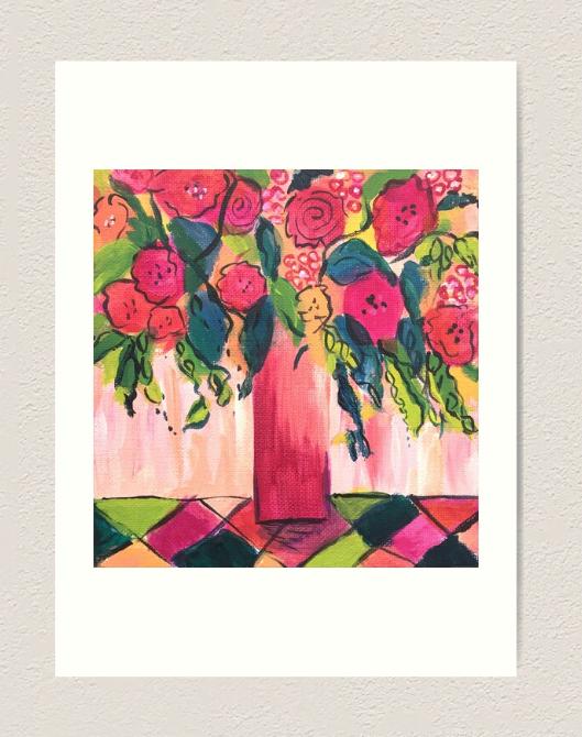 Pink & Green Vase of Flowers Art Print Art Print