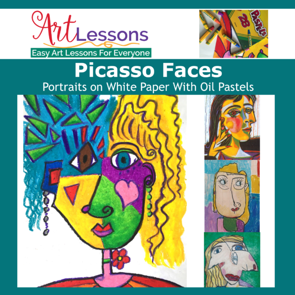Picasso Faces on White Paper – Portrait Drawing in Oil Pastel Art Lesson