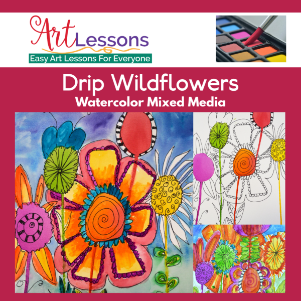 4 Easy Drip Flowers Watercolor Mixed Media Project