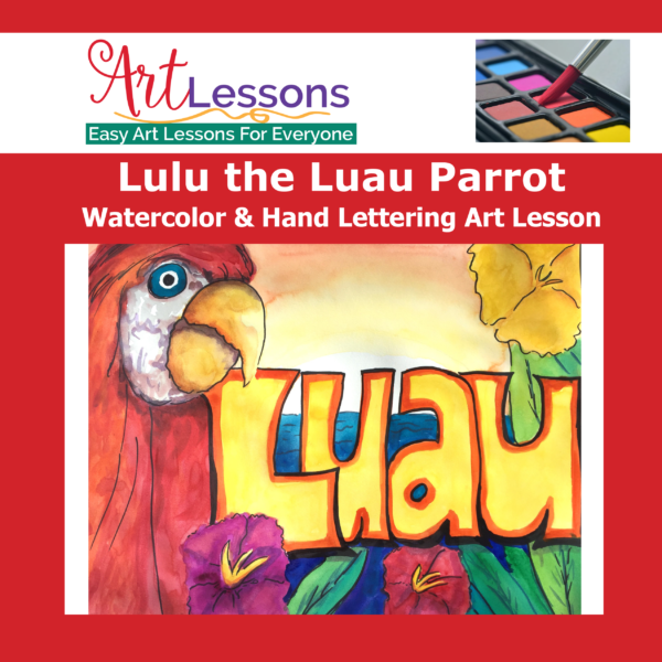 Luau Parrot Watercolor Art Lesson