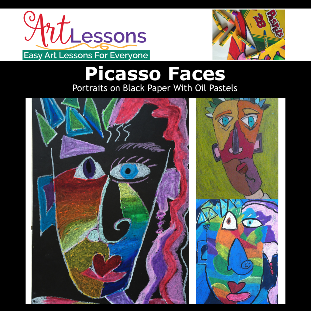 Picasso Faces – Portraits on Black Paper With Oil Pastels
